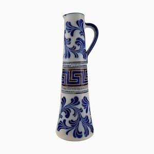 Großer deutscher Bierkrug in handbemalter Keramik von Zoller