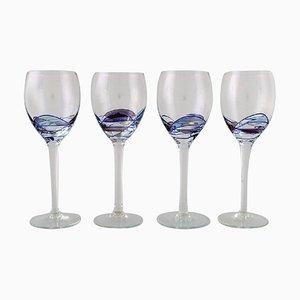 Copas de vino Papillon Casa Grande grandes de Tiffany & Co., años 80. Juego de 4