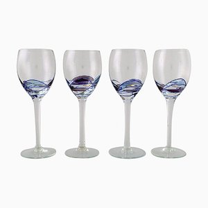 Large Mouth-Blown Papillon Casa Grande Wine Glasses from Tiffany & Co., 1980s, Set of 4