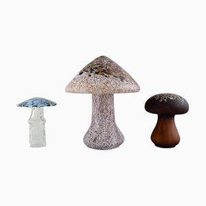 Mushrooms in Art Glass by Ahlefeldt-Laurvig & Monica Backström, Set of 3