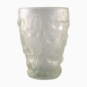 Art Glass Vase in Clear Glass with Cherries in Relief in the Style of Lalique, 1930s
