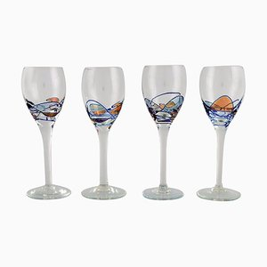 Mouth-Blown Papillon Casa Grande Wine Glasses from Tiffany & Co., 1980s, Set of 4