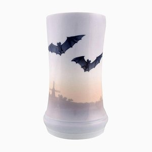 Art Nouveau Royal Copenhagen Vase with Bats in Hand-Painted Porcelain, 1920s