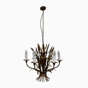 Wheat Sheaf Leaf Gold Gilt Chandelier, 1960s