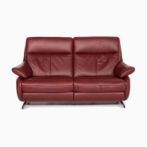 Dark Red Leather Electric Function Sofa from Himolla
