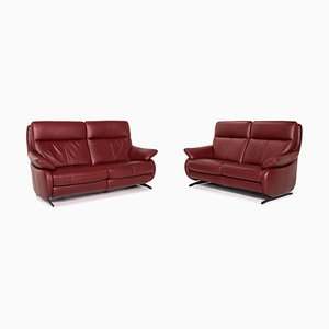 Dark Red Leather Electrical Function Sofas from Himolla, Set of 2