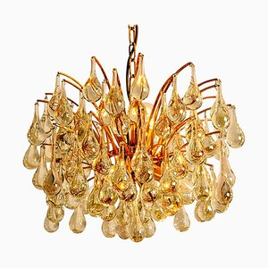Large Brass and Crystal Chandelier by Christoph Palme, Germany, 1960s