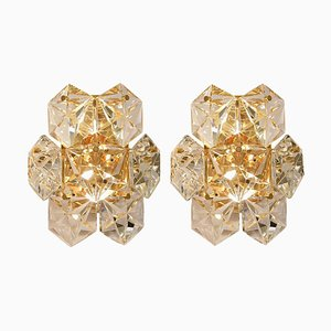 Faceted Crystal and Gilt Sconces by Kinkeldey,Germany, 1960s, Set of 2