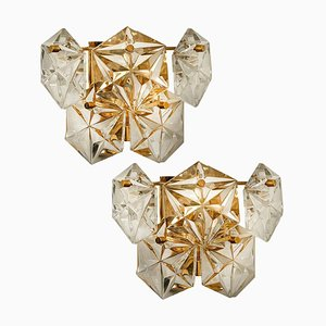Gilt Brass Metal and Faceted Crystal Glass Wall Sconces by Kinkeldey, 1960s, Set of 2