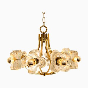 Modern Sische Glass and Brass Chandelier in the Style of J.T. Kalmar, 1960s