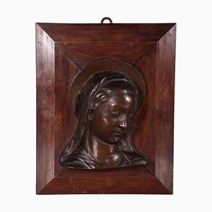 Buste Vintage en Bronze et en Bois de la Vierge Marie, Italie