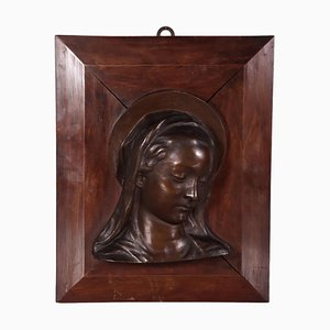 Vintage Italian Bronze and Wood Bust of Virgin Mary