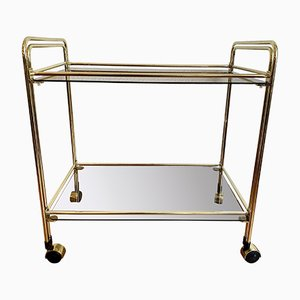 Italian Bar Cart with Golden Brass Frame on Wheels, 1970s