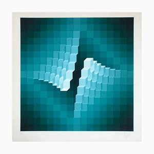 Geometrical Structure 4 Lithograph by Jean-Pierre Vasarely, 1973