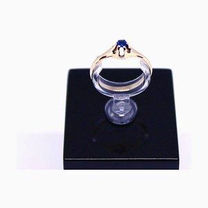 Anello in oro 14 carati con zaffiro