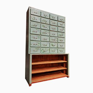 Industrial Blue Green Pharmacy Cabinet, 1960s