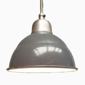 Industrial French Gray Enamel Factory Ceiling Lamp, 1950s