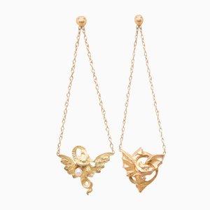 Goldene Vintage Chimera Ohrringe, 2er Set