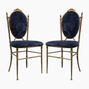 Mid-Century Italian Blue Velvet and Brass Dining Chairs, 1940s, Set of 4