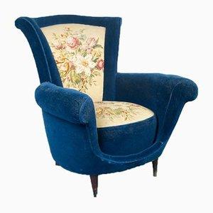 Vintage Italian Blue Velvet Lounge Chairs, 1950s, Set of 2
