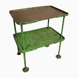 Industrial Green Steel Side Table, 1960s