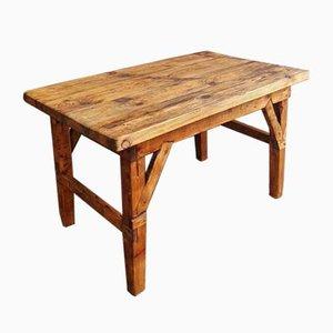 Mesa de trabajo o mesa de comedor vintage de madera de pino, años 30