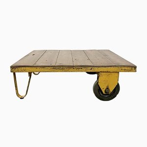 Industrial Yellow Coffee Table Cart, 1960s