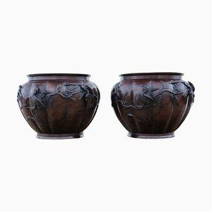 Antique Meiji Period Japanese Bronze Planters, Set of 2