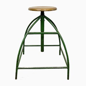 Industrial Green Factory Stool, 1950s
