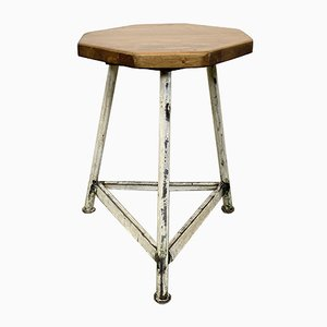 Vintage Industrial White Factory Stool, 1960s