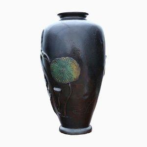 Vase Champleve en Bronze, Japon, 19ème Siècle