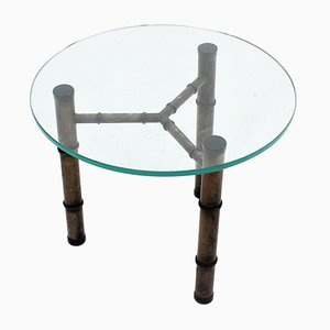 Vintage Glass and Faux Bamboo Metal Coffee Table, 1970s