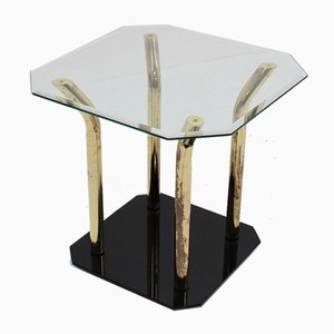 Italian Cut Glass and Brass Side Table, 1970s