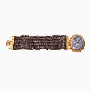 Bracelet Antique en Cuir Marbre Bleu