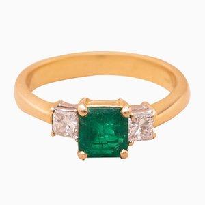 Anello vintage color oro, smeraldo e diamanti, anni '80