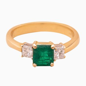Vintage Gold, Emerald, and Diamond Ring, 1980s