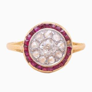 Bague Antique Rubis, Diamant et Dorure