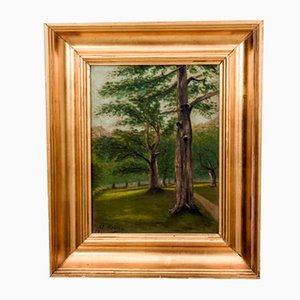 Trees by the Road Painting, 1940s