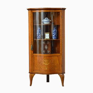 Antique Sheraton Revival Satinwood Corner Display Cabinet