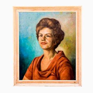 Retrato español de una mujer pintando, años 60
