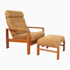 Mid-Century Danish Teak Armchair and Ottoman Set from Dyrlund, 1970s.