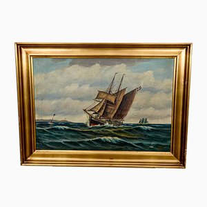 Scandinavian At Sea Painting, 1940s