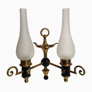 Neoclassical Gilt Bronze and Black Sconces, 1940s, Set of 2