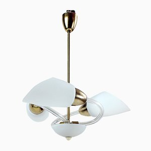 Mid-Century Czechoslovakian White Glass and Brass Ceiling Lamp, 1960s