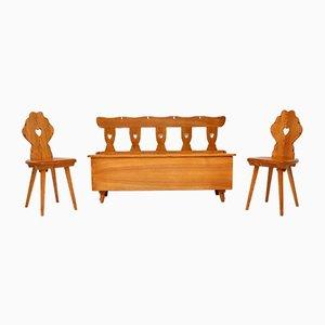 Vintage Ulmenholz Stühle & Sitzbank Set, 1950er