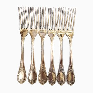 Silver-Plated Metal Model Marly Forks from Christofle, 1980s, Set of 6