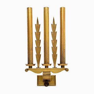 Antique Neoclassical Brass Sconces, Set of 5