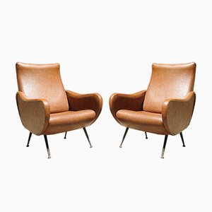 Mid-Century Italian Leatherette Lounge Chairs in the Style of Zanuso, 1950s, Set of 2