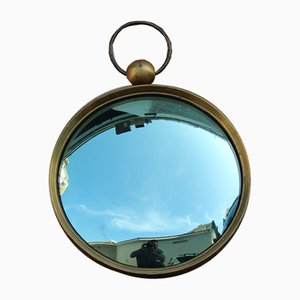 Italian Green Brass Concave Mirror from Fornasetti, 1950s