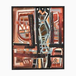 Französische Abstrakte Collage Malerei von André Pailler, 1970er